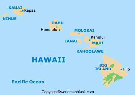 Labeled Hawaii Map with Capital
