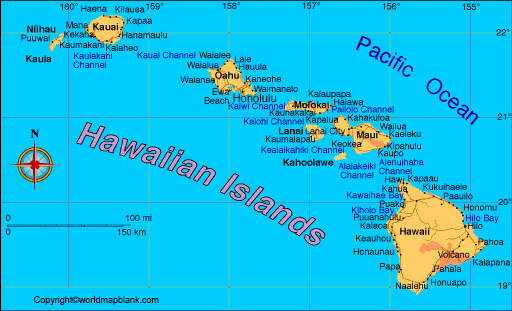 Labeled Map of Hawaii with Cities