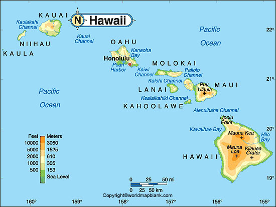 Labeled Map of Hawaii
