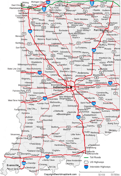 Labeled Indiana Map with Cities