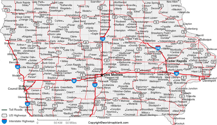 Labeled Map of Iowa with Cities