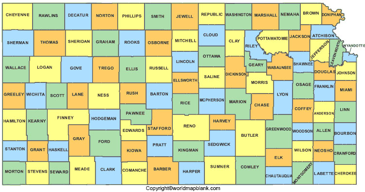 Labeled Kansas Map with Capital