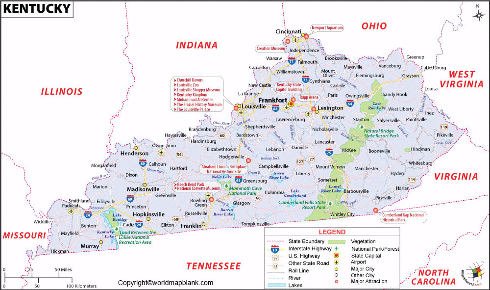 Labeled Map of Kentucky