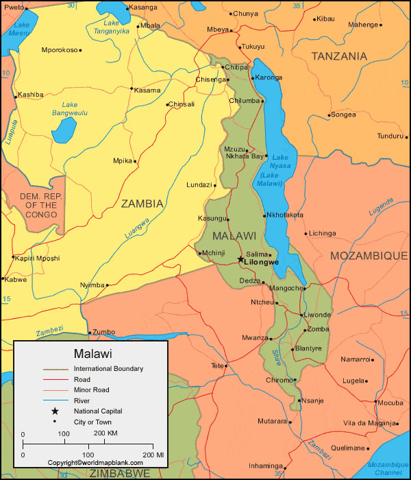 Labeled Map of Malawi with Cities