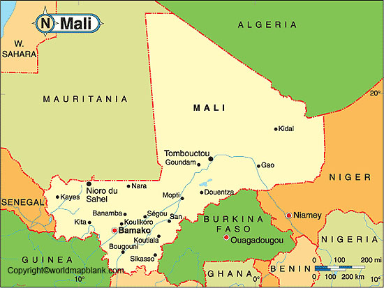 Labeled Map of Mali with States