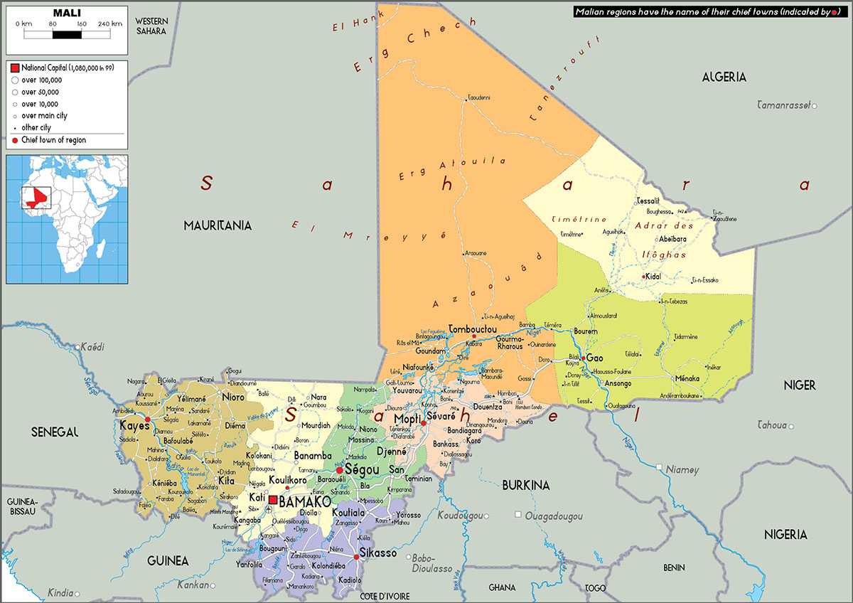 Labeled Mali Map with Capital