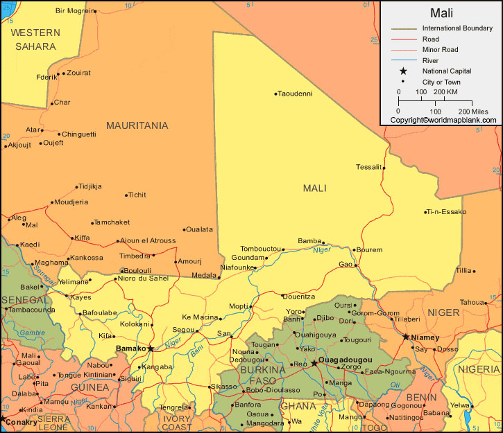 Labeled Map of Mali with Cities