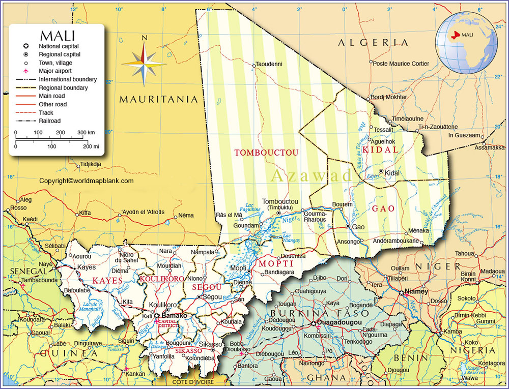 Labeled Map of Mali