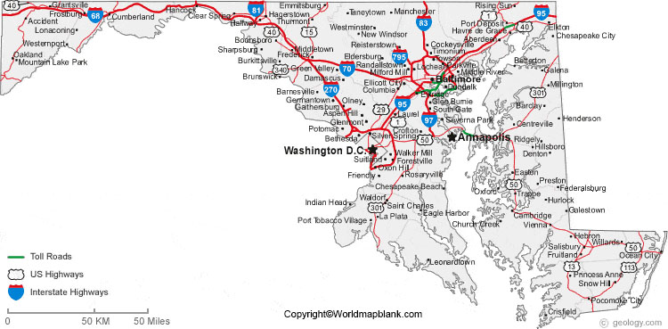 Labeled Map of Maryland with Cities