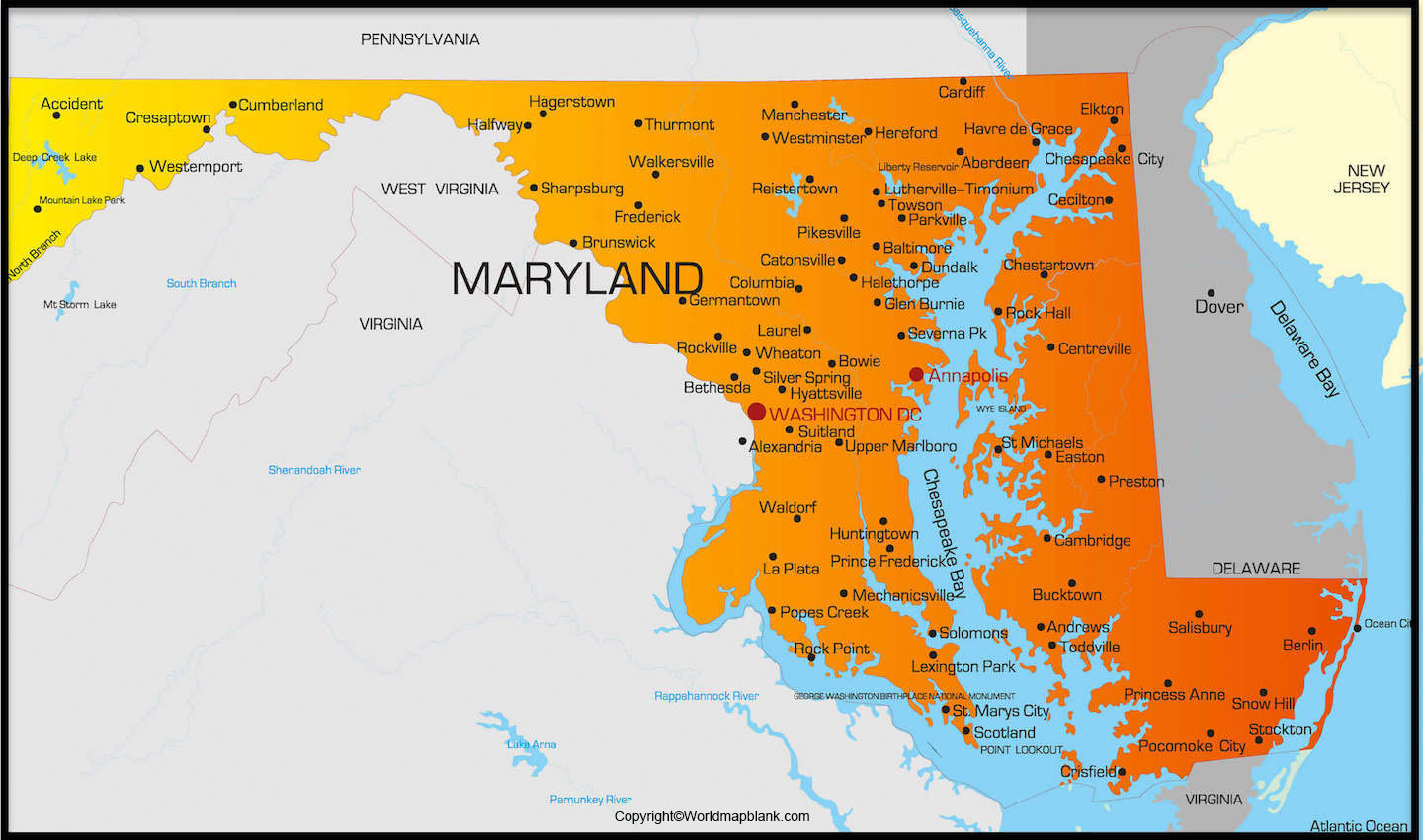 Labeled Map of Maryland