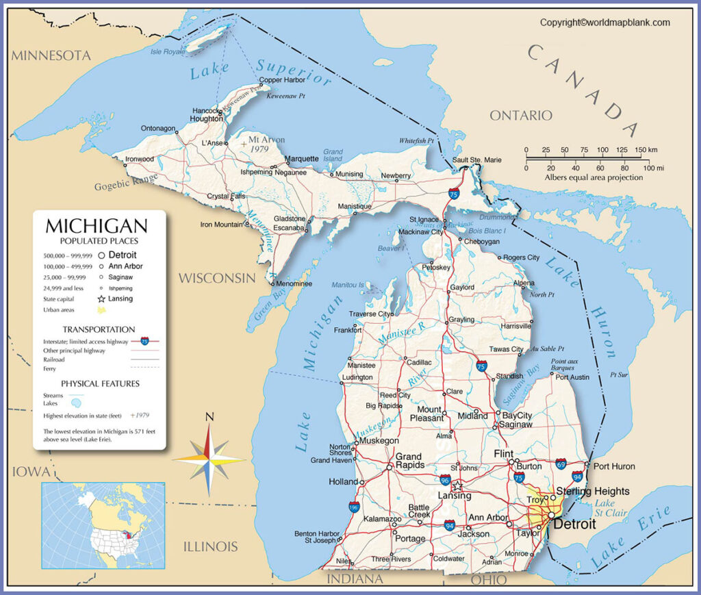 Labeled Map of Michigan