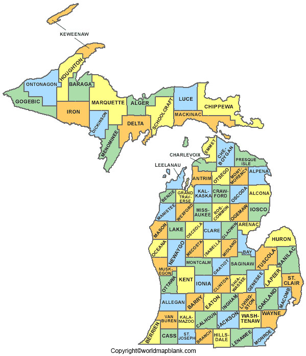 Labeled Map of Michigan Printable