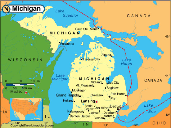 Labeled Michigan Map with Capital