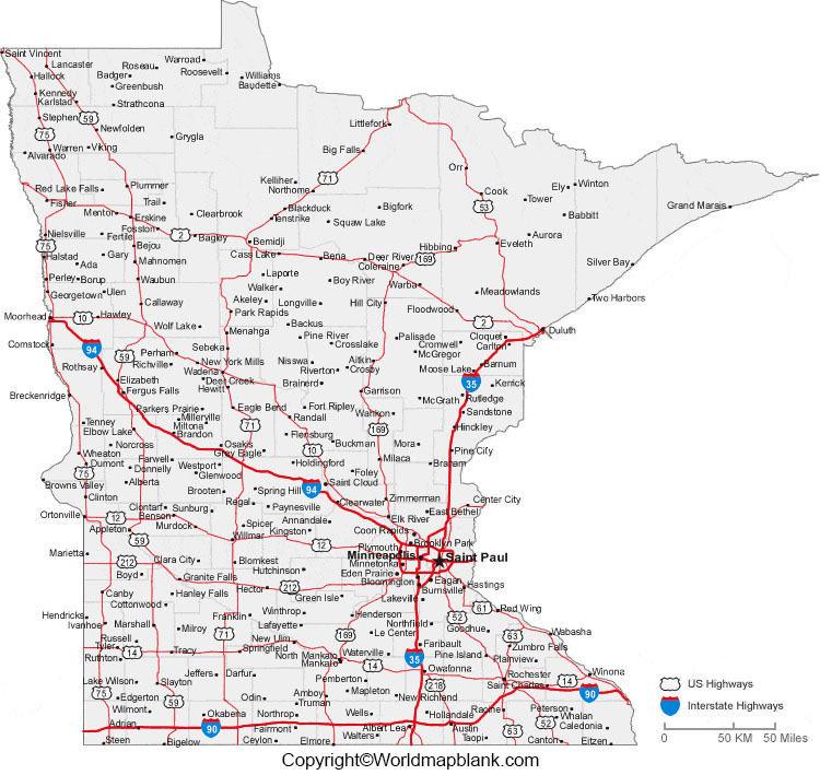 Labeled Map of Minnesota with Cities