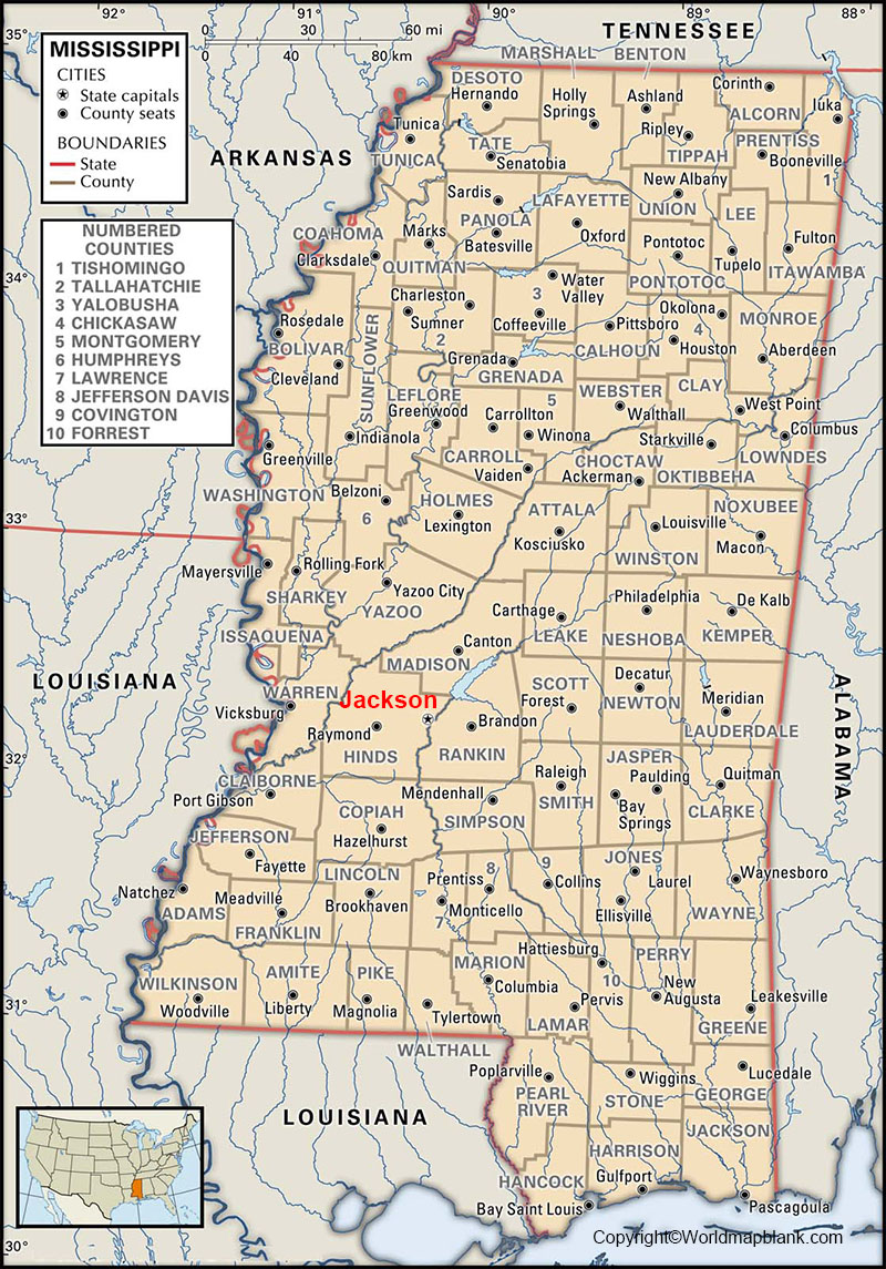Labeled Mississippi Map with Capital