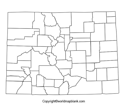 Map of Colorado for Practice Worksheet