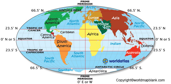 World Map with Equator Tropic of Cancer and Tropic of Capricorn