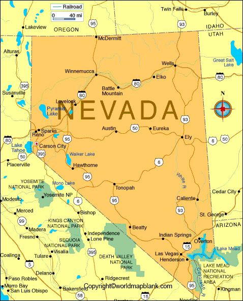 Printable Map of Nevada Labeled