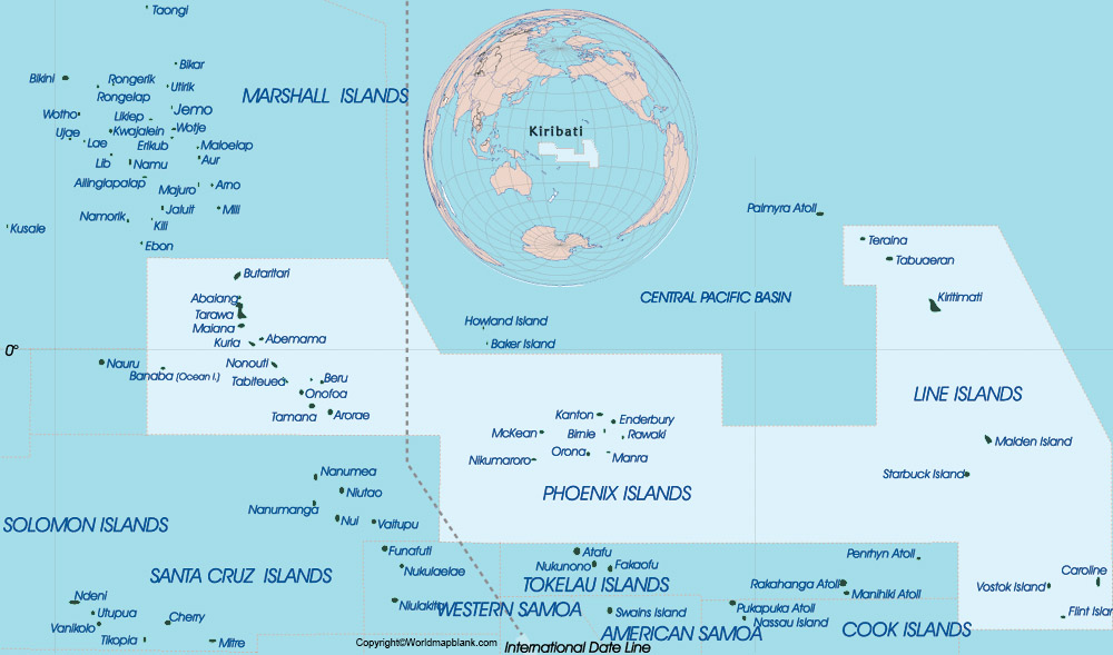 Labeled Map of Kiribati with States