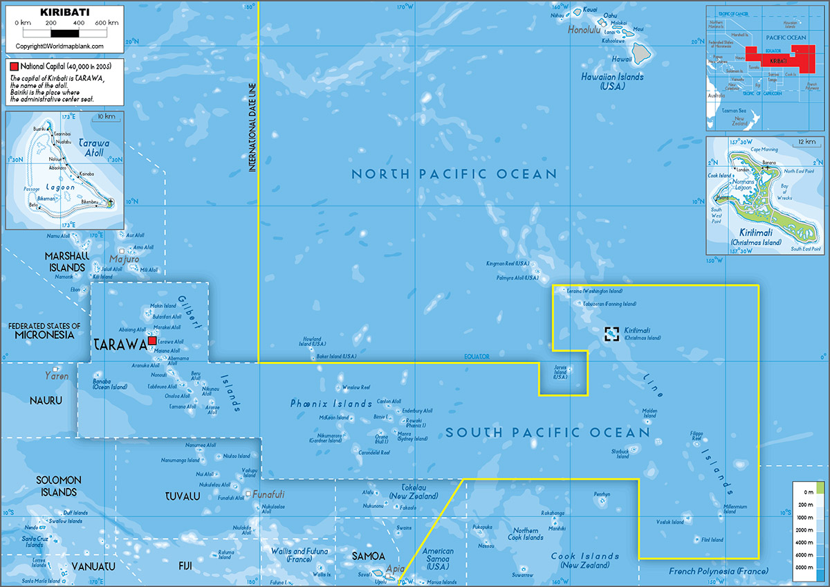 Labeled Map of Kiribati