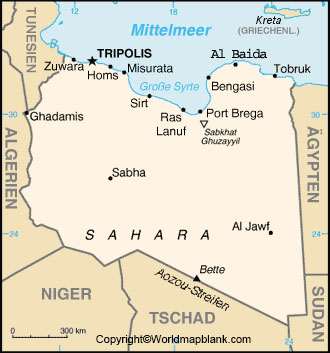 Labeled Map of Libya with Cities