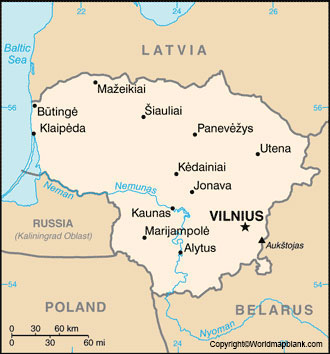 Labeled Map of Lithuania with Cities