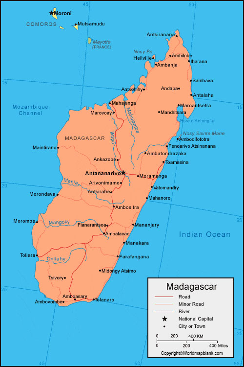 Labeled Map of Madagascar with Cities