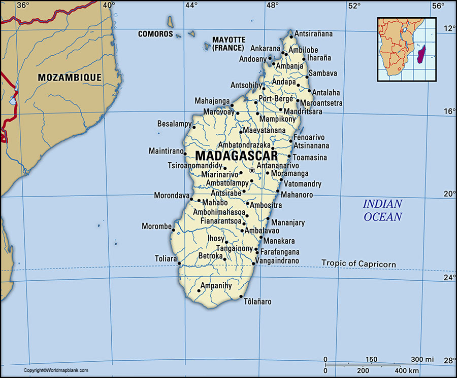 Labeled Map of Madagascar with States