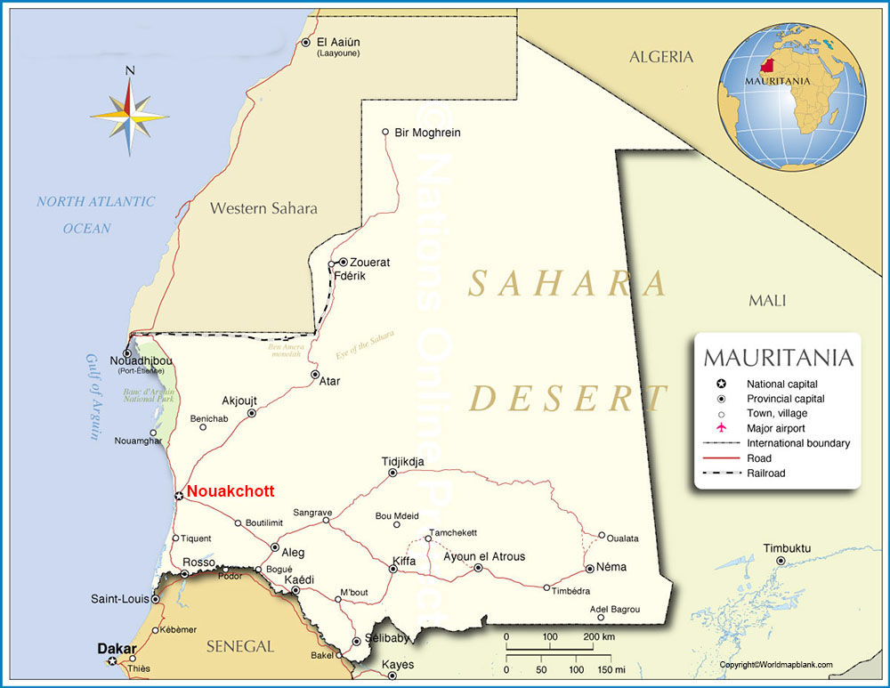 Labeled Mauritania Map with Capital