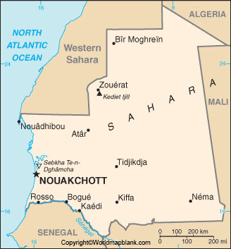 Labeled Map of Mauritania with Cities
