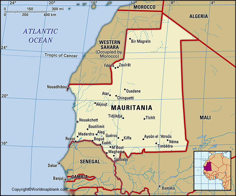 Labeled Map of Mauritania with States