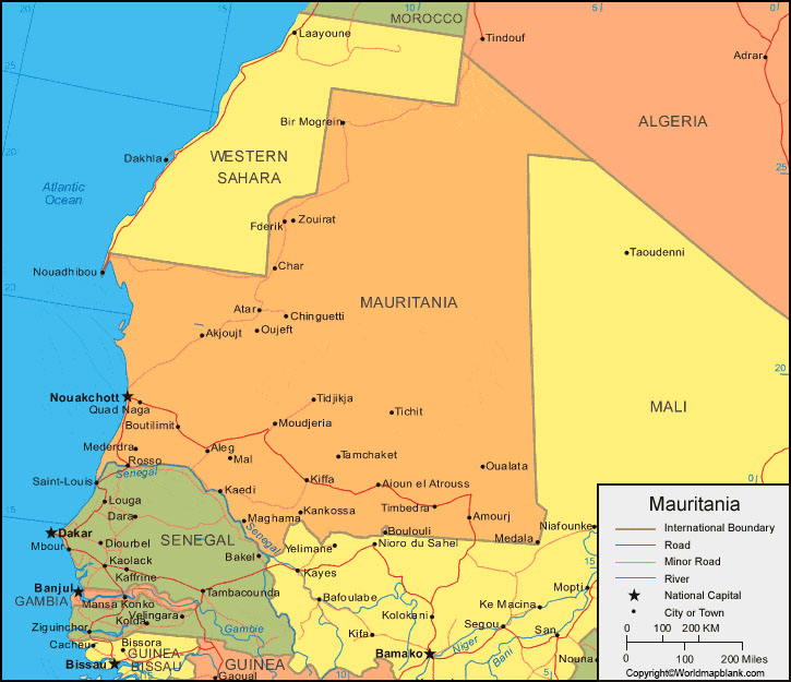 Labeled Map of Mauritania