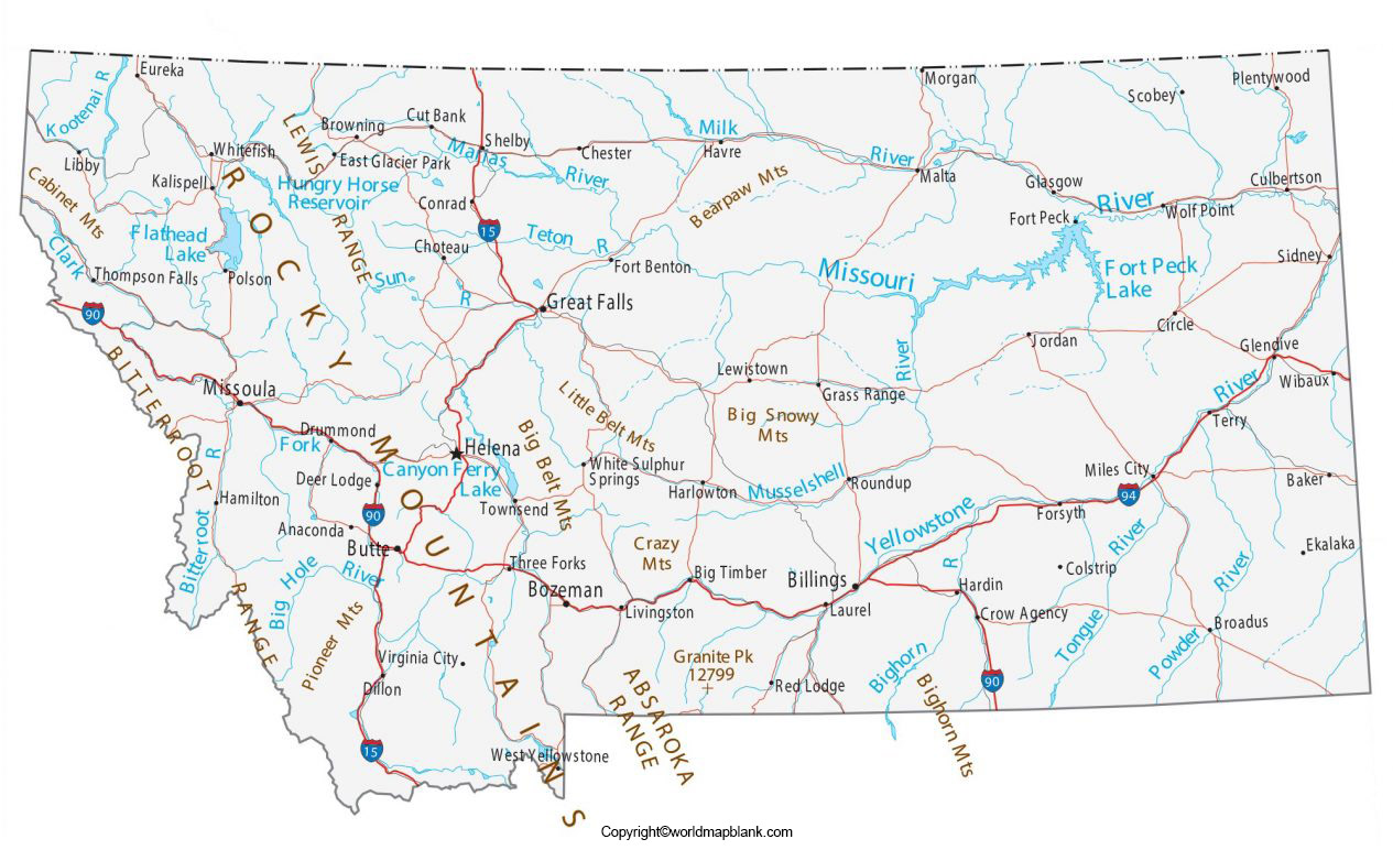 Labeled Map of Montana with Cities