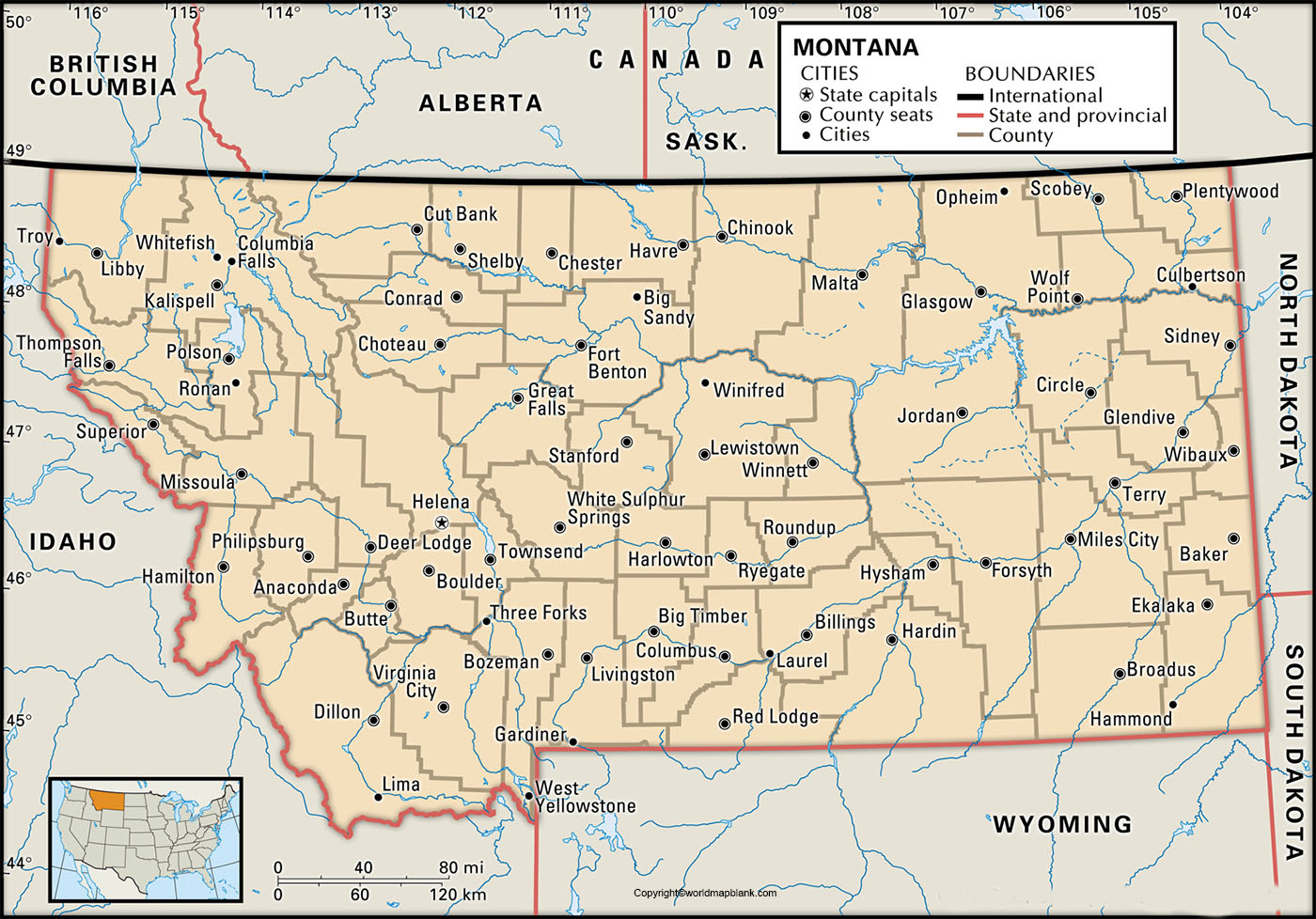 Labeled Map of Montana