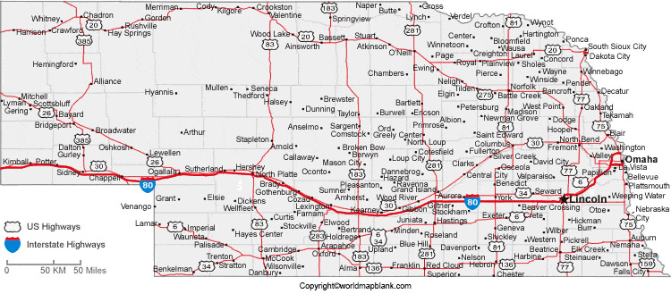 Labeled Map of Nebraska with Cities