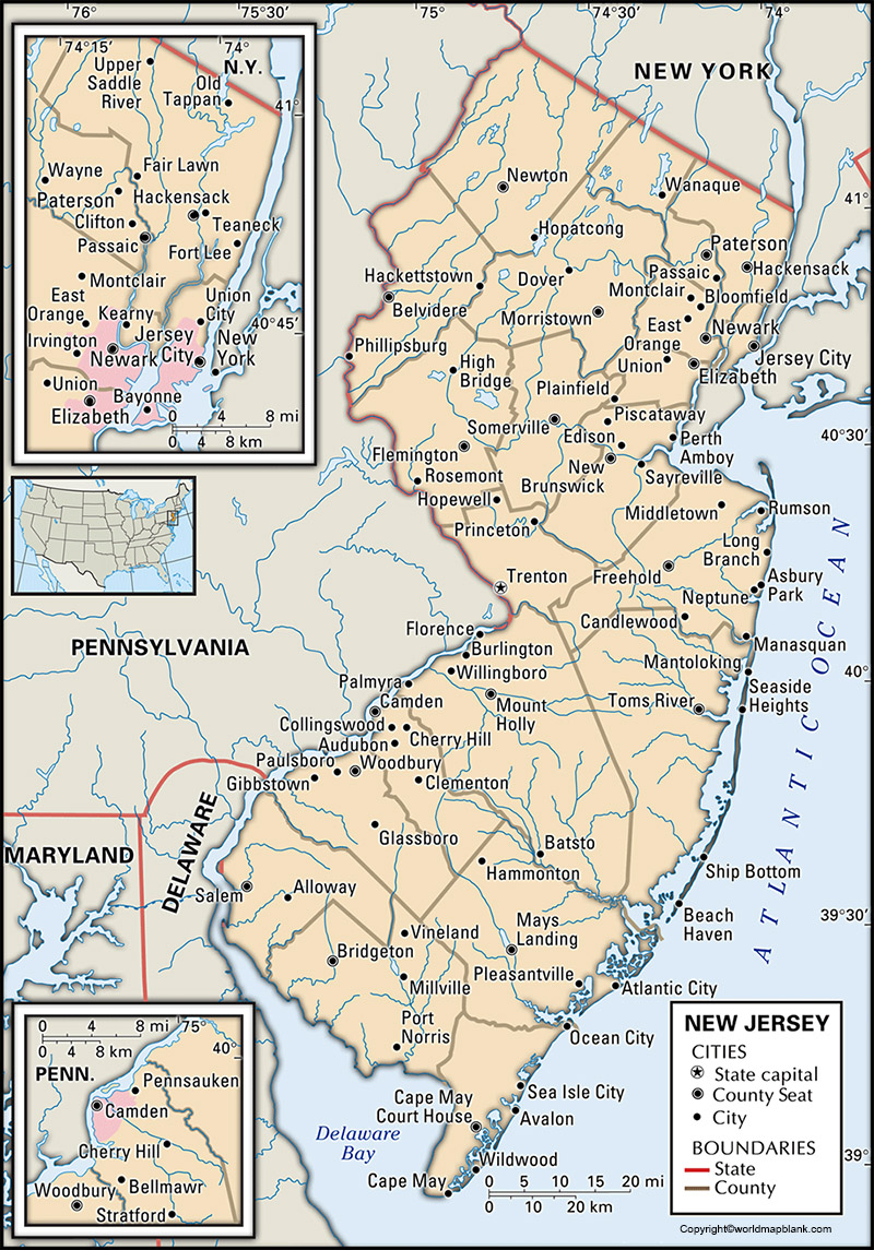 Labeled New Jersey Map with Capital