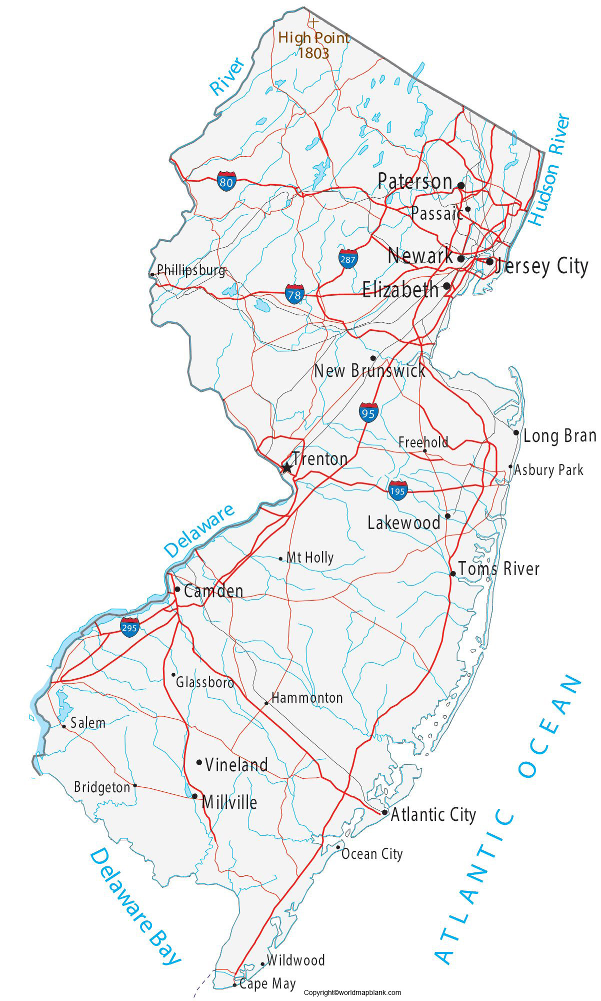Labeled New Jersey Map with Cities