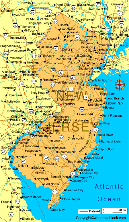 Labeled Map of New Jersey