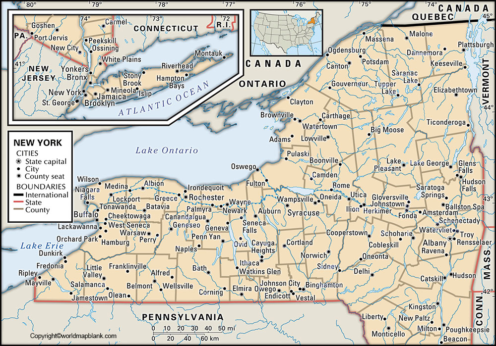 Labeled New York Map with Capital