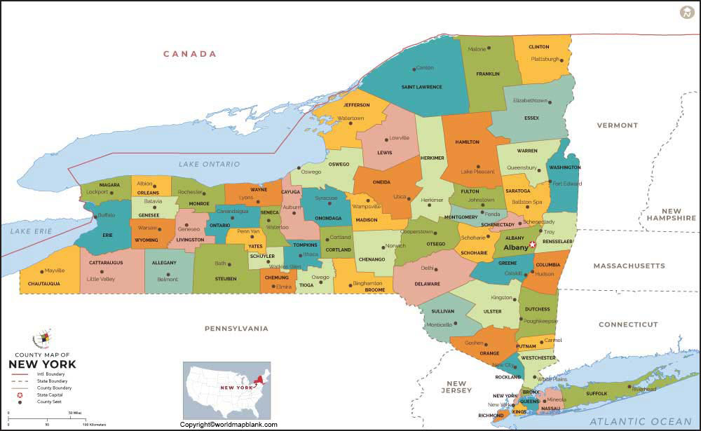 Labeled Map of New York