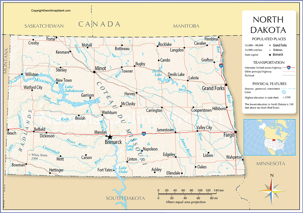 Labeled Map of North Dakota Printable