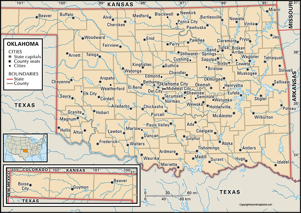 Labeled Oklahoma Map with Capital