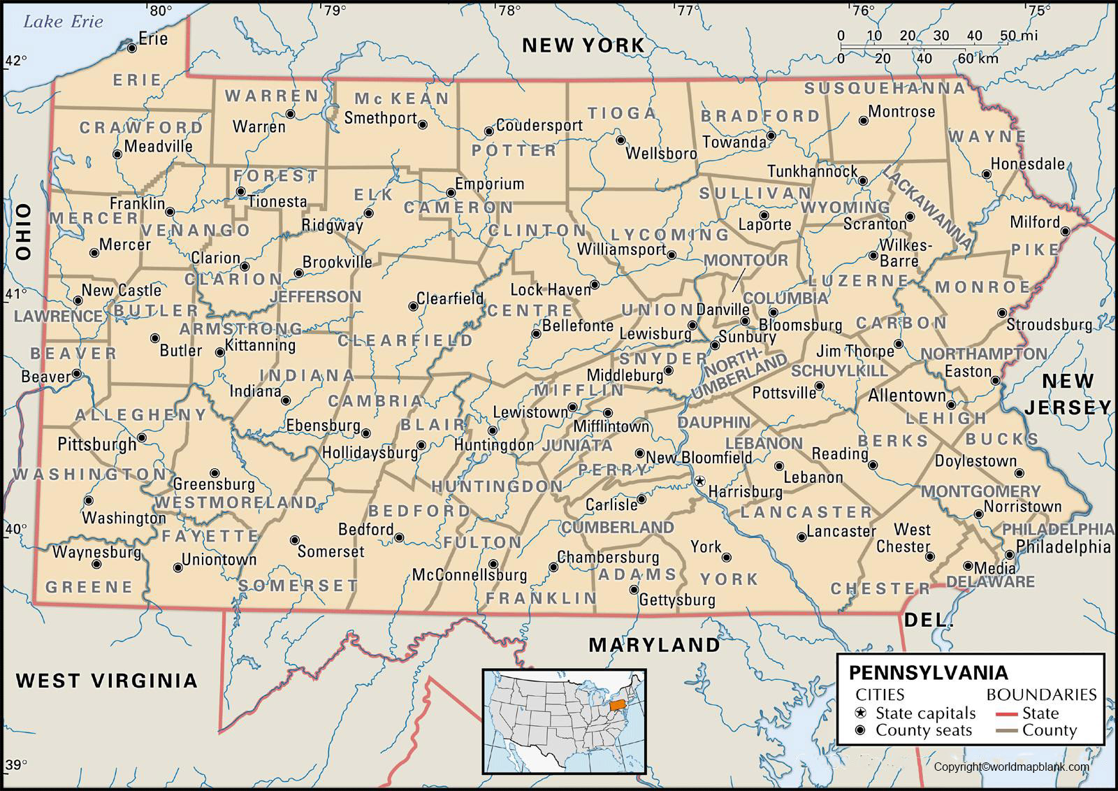 Labeled Pennsylvania Map with Capital