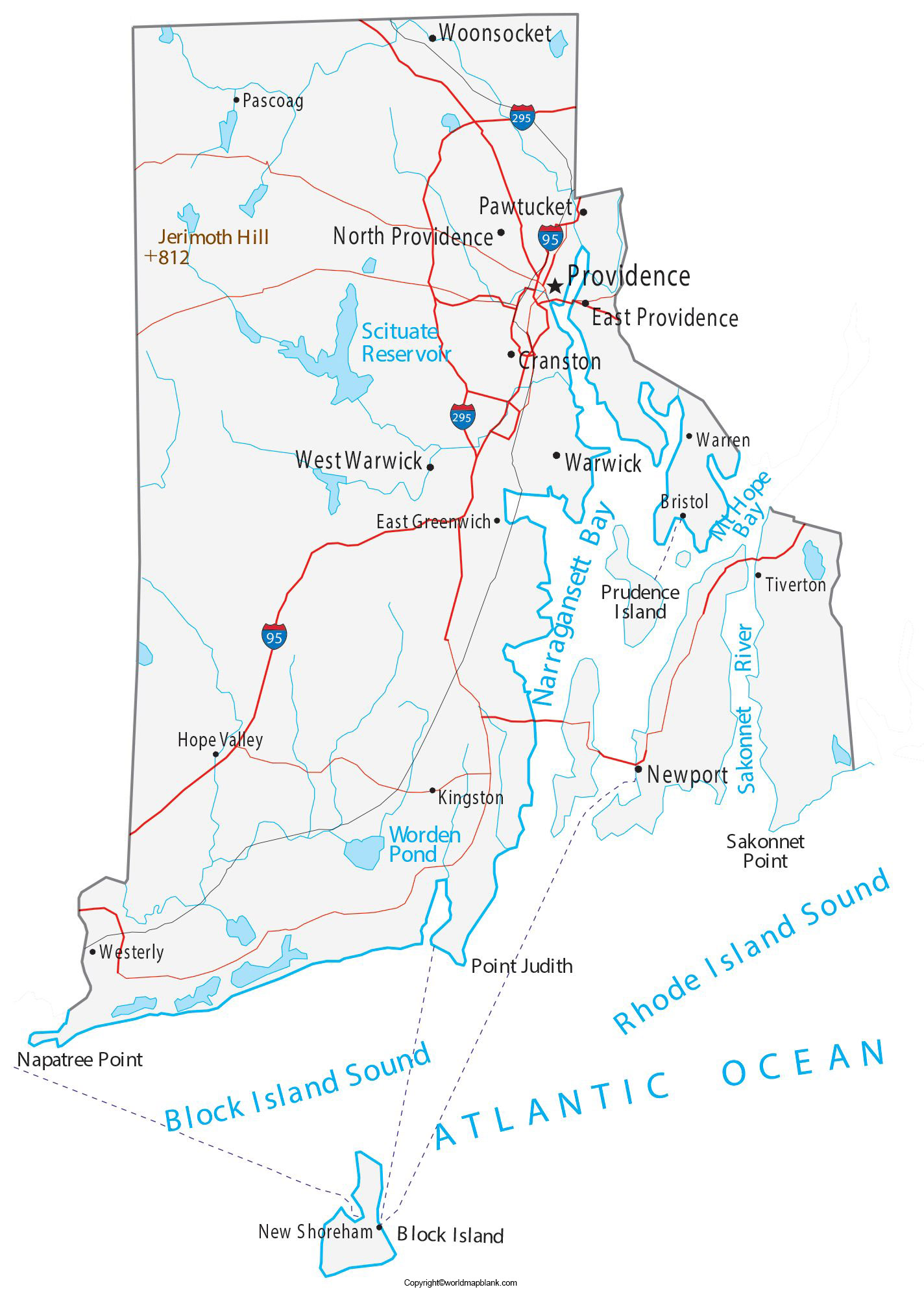 Labeled Map of Rhode Island with Cities