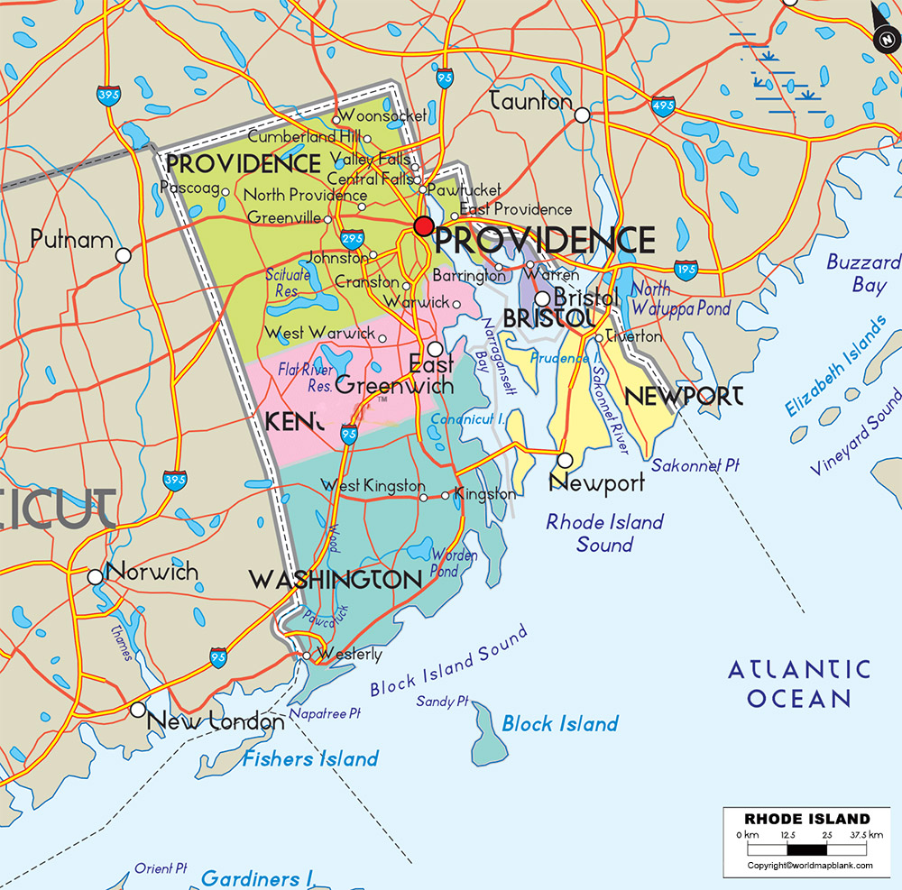 Labeled Map of Rhode Island