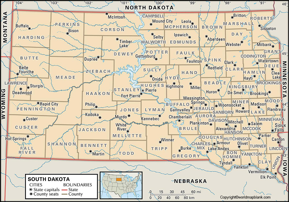 Labeled South Dakota Map with Capital