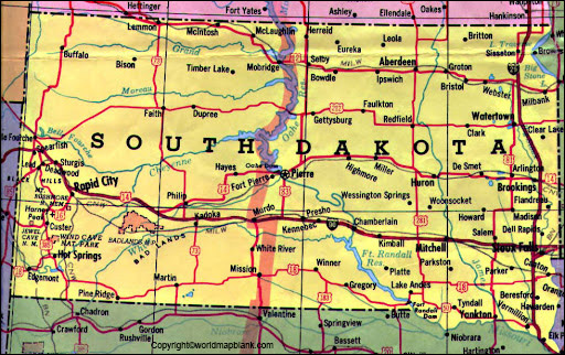 Labeled Map of South Dakota Printable
