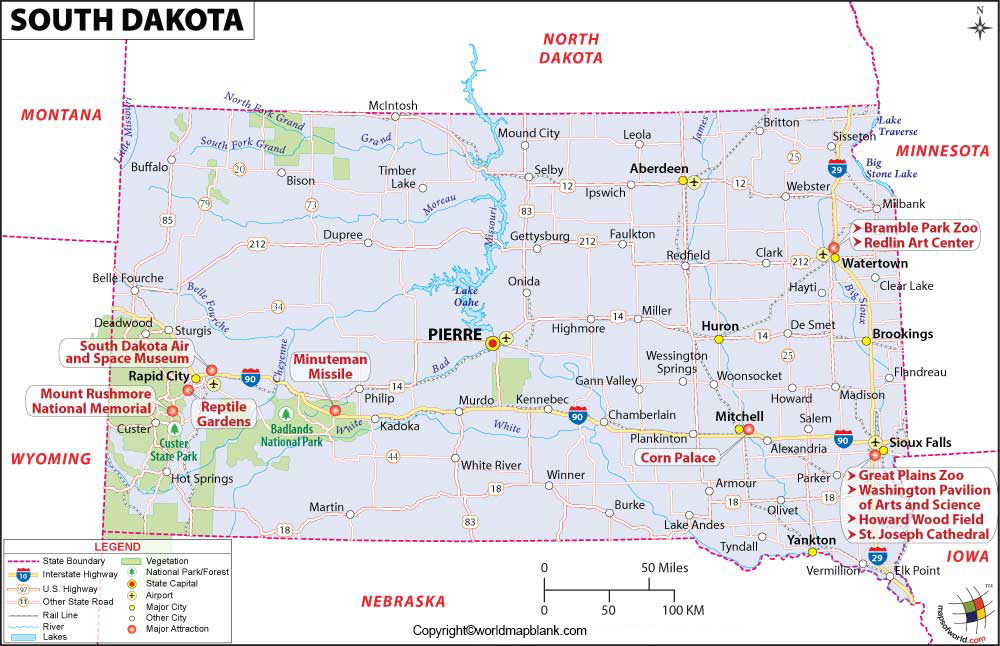 Labeled Map of South Dakota