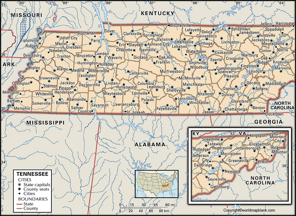 Labeled Tennessee Map with Capital