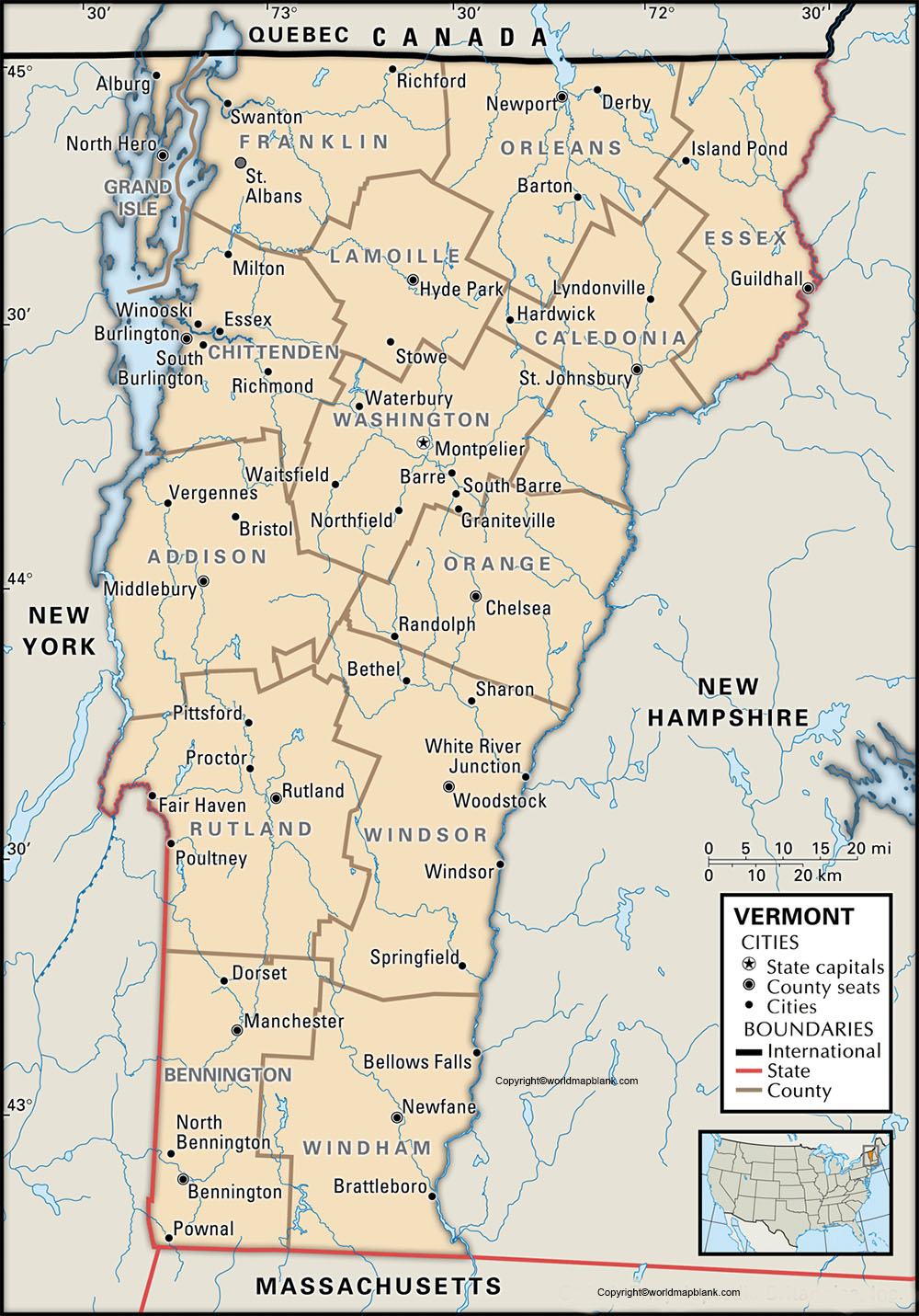 Labeled Vermont Map with Capital